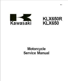 KAWASAKI KLX650R KLX650  1993 MANUAL DE TALLER