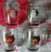 Cuatro mugs navideños marca Cristar .Nuevo