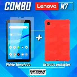 Kit Vidrio templado y Estuche Protector de goma antigolpes Tablet Lenovo M7 7305x