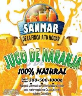 Jugo de naranja y pulpa de fruta