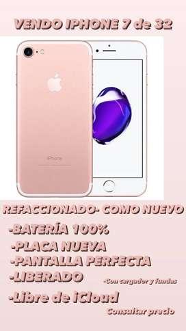 Vendo IPHONE 7 de 32 refaccionado - COMO NUEVO-