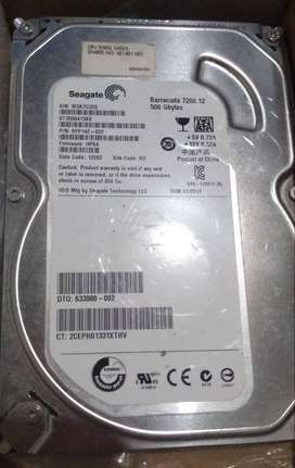 vendo disco duro 500gb en excelente estado