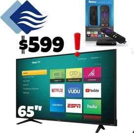 "Televisor 65"" pulgadas con Roku TV"