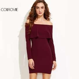 Vestido Sheinside Off Shoulder color vino con envio gratuito