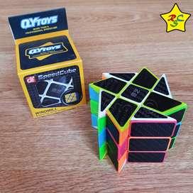 Windmill 3x3 Carbono Cubo Rubik Espiral Qiyi 2021 Textura