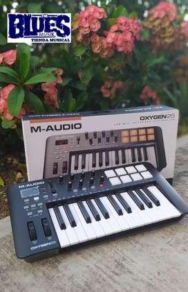 APROVECHAA  NUEVO ‼️  TECLADO CONTROLADOR MIDI USB MARCA: M-AUDIO, REF: OXYGEN IV 25 !!!QUE BUEN PRECIO!!! 1AÑO GARANTIA