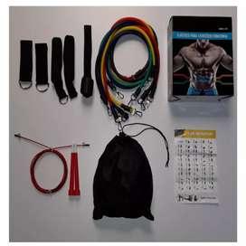 Bandas tubulares 11 piezas incluye lazo de guaya 3 metros ajustable