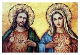 Sagrado corazón Jesús y María Lienzografia Impresión Lienzo Arte