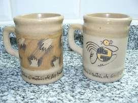 2 Pocillos de café de cerámica pintadas a mano - NUEVOS - Belgrano (Cap.Fed.)