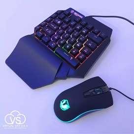 Combo Gamer Mini Teclado de una sola mano + Mouse Gamer Jedel M80