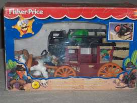 Carreta o diligencia de fisher price con caja, muñeco, caballos cañon 3290