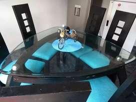 Hermoso Comedor con vidrio 20 mm Azul Turquesa