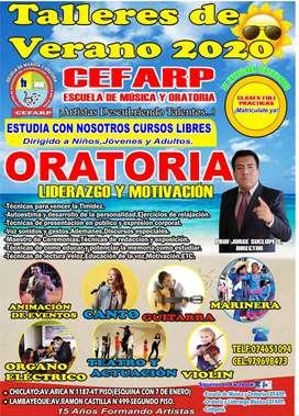 TALLERES DE VERANO ESCUELA DE MÚSICA Y ORATORIA - CEFARP-2020