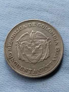 Moneda de 50 centavos del año 1960 de colombia bj