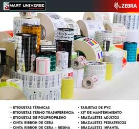 Etiquetas Adhesivas/ tarjetas pvc / suministros Zebra / Cinta Ribbon