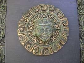Cuadro Relieve Rostro Azteca Tabla Tipo Malaquita / Maxim Nord