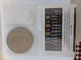 Moneda De 5 Dolares Conmemorativa1988