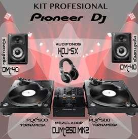 PIONEER DJ PROFESIONAL KIT TORNAMESAS PLX500 - MIXER DJM 250MK2 - MONITORES DM40 - AUDIFONOS X5 - LICENCIAS REKORBOX DVS