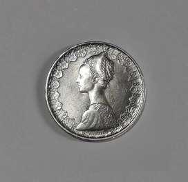 Moneda italiana de plata 835, 11 g, 500 liras, 1958, XF