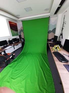 Chroma key verde transportable 2.4m x 5m largo, tela lavable 100% mate.