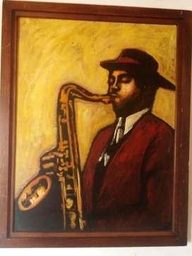 Cuadro en oleo, de un musico tocando su saxofon