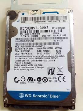¡VENDO DISCO DURO, EN OPTIMAS CONDICIONES! SUPER ECONOMICO 750 GB WD SCORPIO BLUE. SUPERECONOMICO!