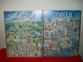 2 láminas sobre bastidor, Sevilla y Granada