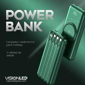 Cargador Portátil Power Bank inalámbrico de 20000mAh