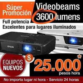 Alquiler de Videobeam 3600 lumens, 25.000 X Hora. Video beam