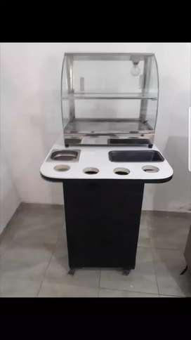 Vendo calentador y estufa para ventas de empanadas con su mueble todo en perfecto estado