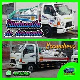 servicios eliminación de desmonte y recojo de escombros y taxi carga