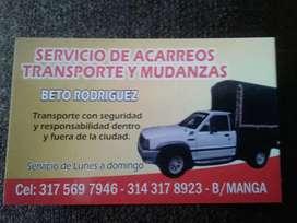 Servicio de acarreos y transporte  de mercancías en bucaramga