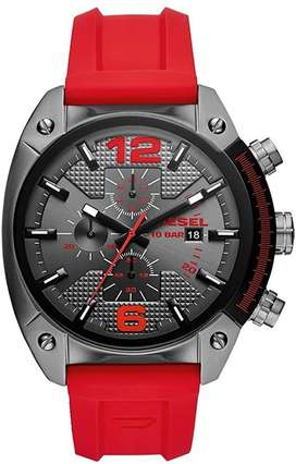 Reloj Diesel DZ4481 Hombre Overflow Stainless Steel Quartz with Silicone Strap, red, 21