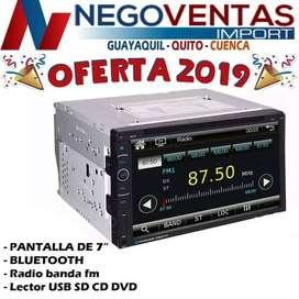 RADIO PANTALLA DOBLE DIN CD DVD 7 PULGADAS BLUETOOTH USB SD AUX FM PARA CARROS