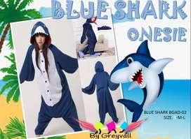 Tiburon Azul pijama enterizo disfraz onesie - bygreyvall