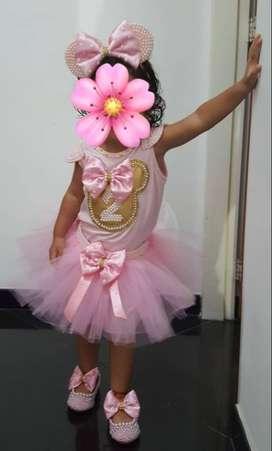 hermoso vestido personalizado tutu cumpleaños # 2 niña Minnie elaborado por diseñadora de modas Caleña
