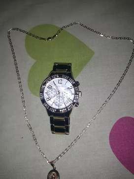 Cadena de oro 14 kl y un reloj Guess original