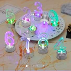 Set Números velas de cumpleaños Led Multicolor Fiestas Torta Cumpleaños