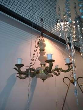 Araña francesa de bronce y alabastro