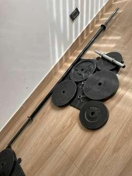 Pesas y barra gym