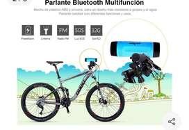 Bafle Bluetooth Linterna Bicicleta Con Soporte Fm Powerbank
