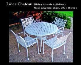 Mesa Chateau de Fundicion de Aluminio 1.00 x 0.68 con 4 sillones