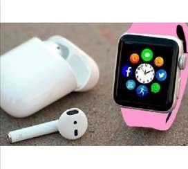 Combo reloj inteligente homologado más audifonos Bluetooth i7