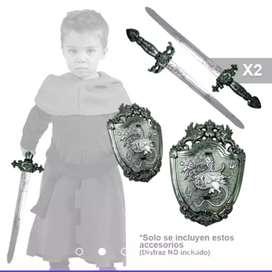 Kit infantil de 1 escudo y 2 espadas
