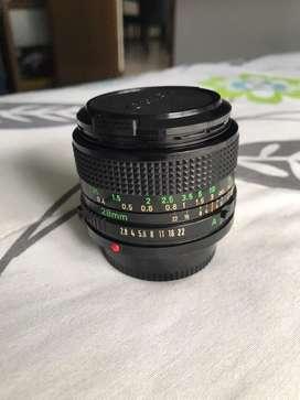 Lente canon FD 28mm f2.8 con anillo EOS