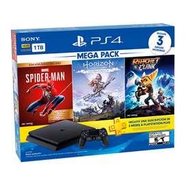 Sony PlayStation 4 Slim Negro 1 TB MegaPack: Edicion Juego del Año Marvel-Spiderman/Horizon/Ratchet Clank