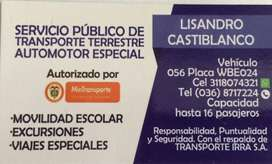 SERVICIO DE TRANSPORTE Y TURISMO DE PASAJEROS
