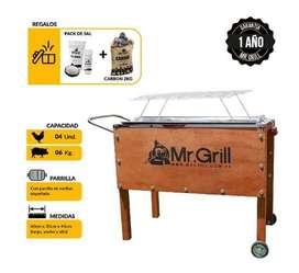 Caja China Mr. Grill Mediana Premium Jr Acero Galvanizado + Parrilla Varillas