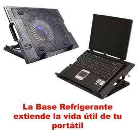 Base Refrigerante para portátil Ergo Negra N18 Luz Led 2 USB