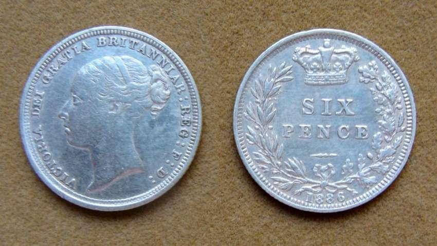 Moneda de 6 peniques de plata Gran Bretaña 1886 0